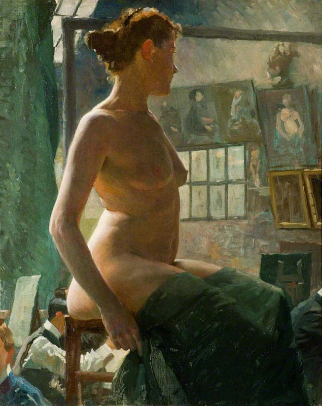 Alfred Munnings - Nude Female at Julian's Atelier